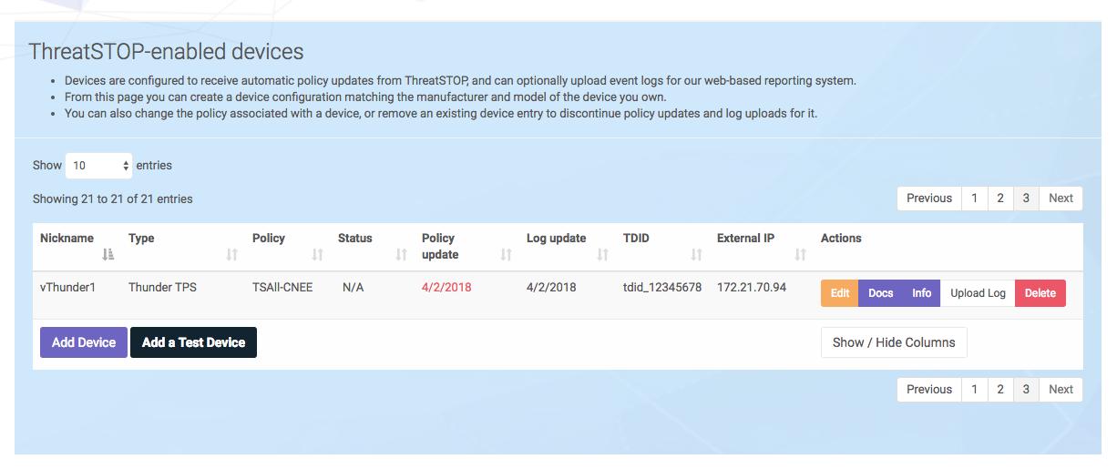ThreatSTOP for A10 Thunder TPS / Thunder ADC | ThreatSTOP Dochub